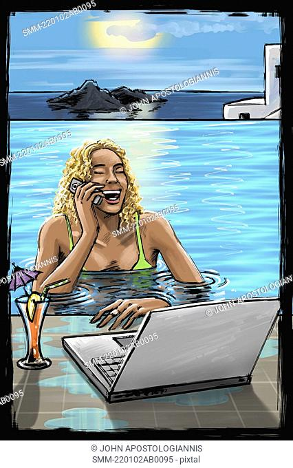 Woman in pool on phone with laptop