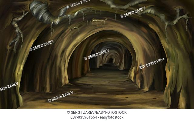 Digital painting of the Mysterious cave