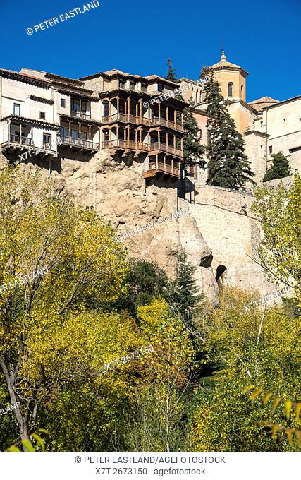 Autumn in the Hoz del Huecar gorge looking up at the hanging houses at Cuenca, Castilla-la mancha, Central Spain