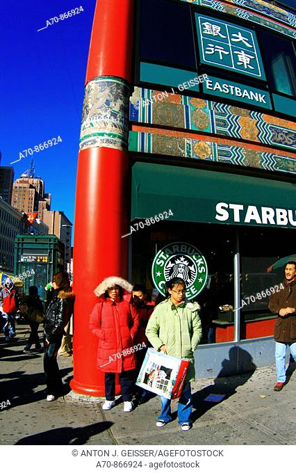 USA, New York City, Manhattan, Chinatown, Starbucks Coffee