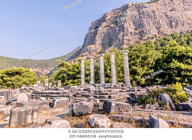 Marble columns at temple of Athena of Ancient Greek City in Priene,Soke,Aydin,Turkey