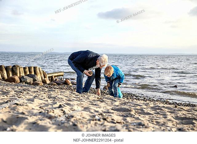 Grandfather with grandson on beach