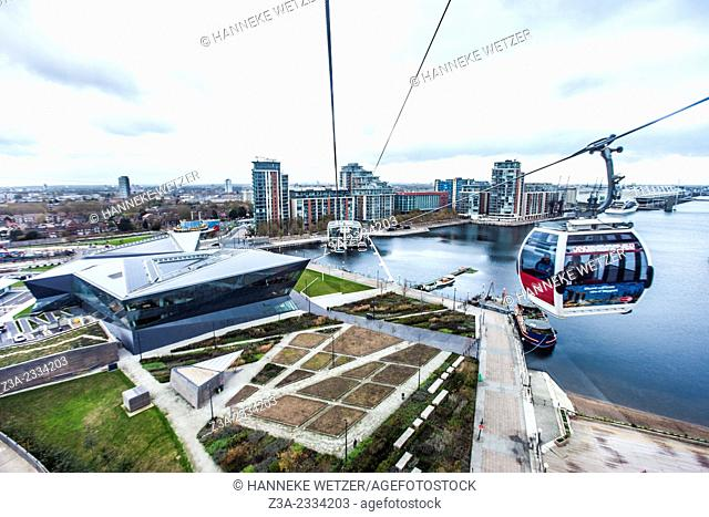 The Emirates Air Line (also known as the Thames cable car) is a ten-minute (five minutes in rush hour) gondola lift link across the River Thames in London