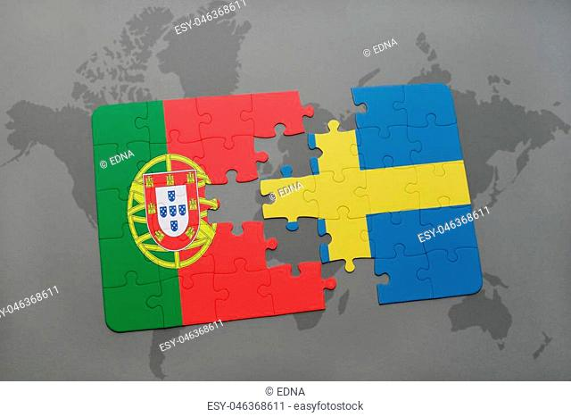 puzzle with the national flag of portugal and sweden on a world map background. 3D illustration