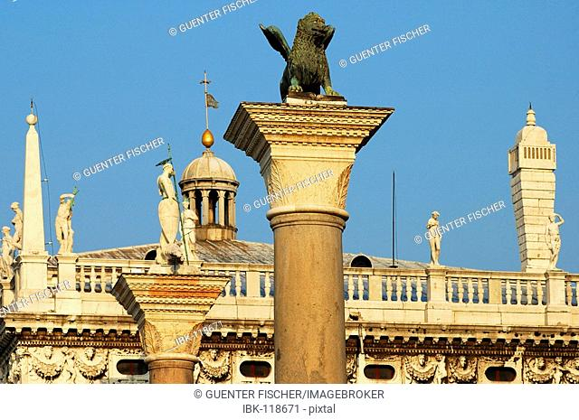 Column of the lion of Saint Mark, San Marco square, Venice, Italy