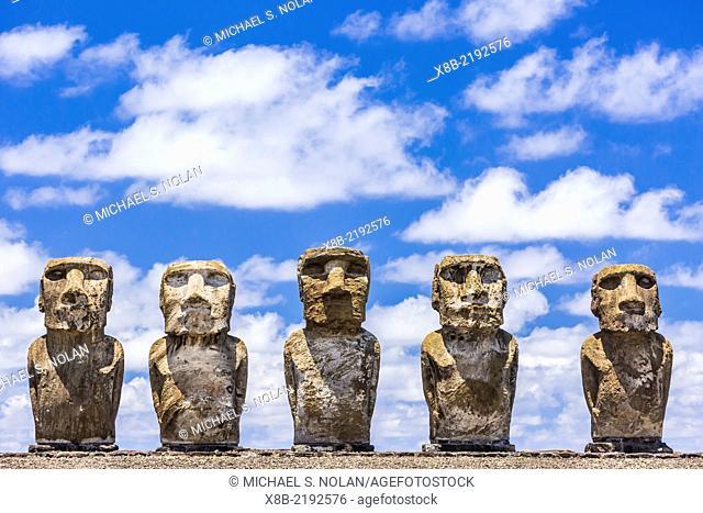 Details of moai at the 15 moai restored ceremonial site of Ahu Tongariki on Easter Island (Isla de Pascua, Rapa Nui), Chile