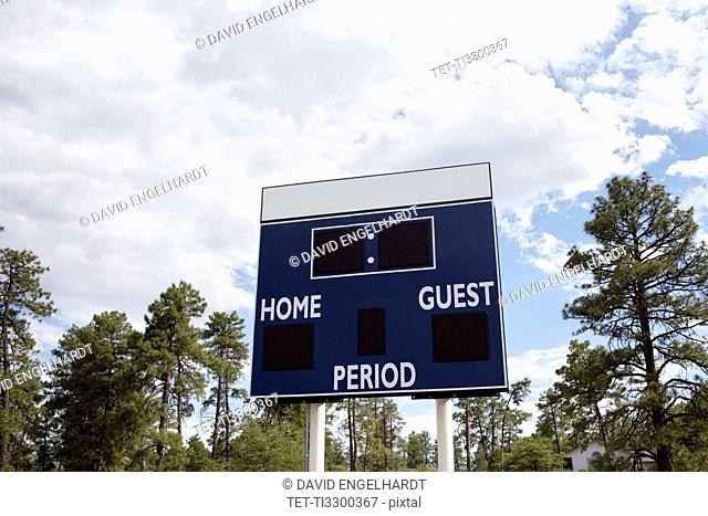 Low angle view of scoreboard