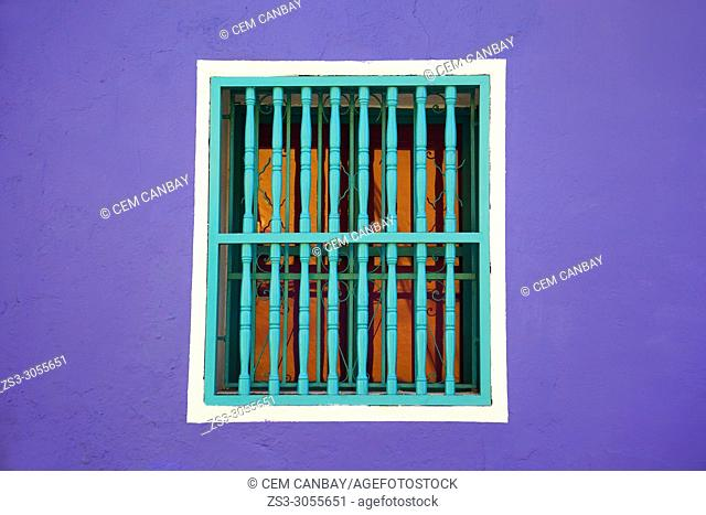 Window detail of a colonial building at the historic center, Cartagena de Indias, Bolivar, Colombia, South America