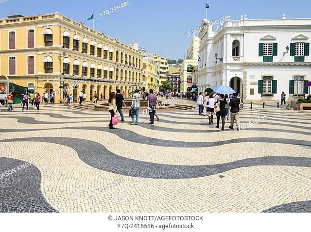 Mosaic cobbles of Senado Square, Macau, China