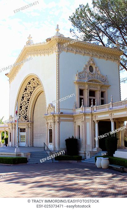 Side view of Spreckels Organ Pavilion at Balboa Park, San Diego, California, USA