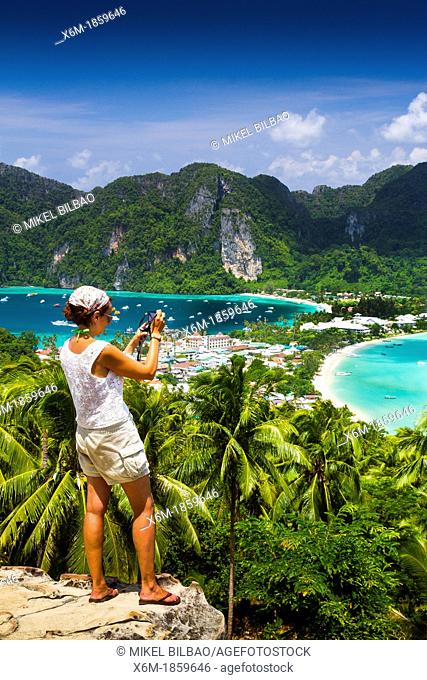 Tourists in a viewpoint  Phi Phi Don island  Krabi province, Andaman Sea, Thailand
