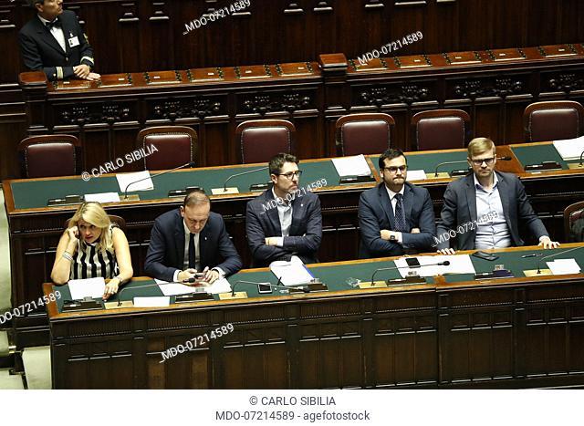 Politicians Giuseppina Castiello, Guglielmo Picchi, Nicola Molteni, Carlo Sibilia and Simone Valente during the vote for the security decree bis in the Chamber...