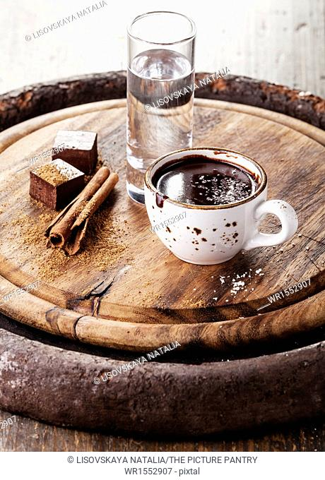 Hot chocolate with spices and water