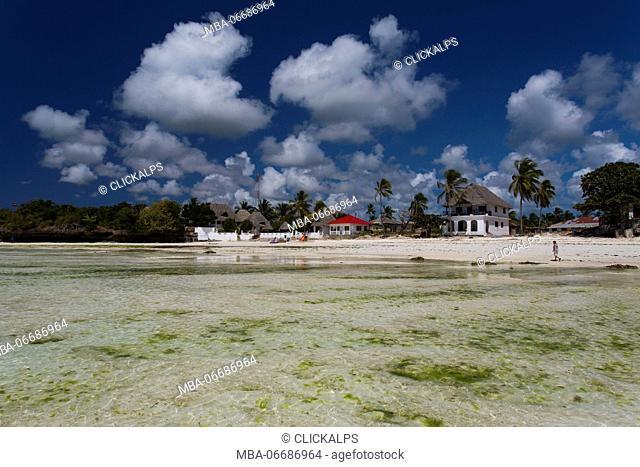 Beach and village in Jambiani, Zanzibar, Africa