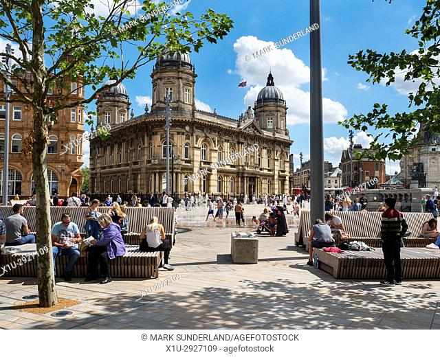 Hull Maritime Museum and Queen Victoria Square Hull Yorkshire England
