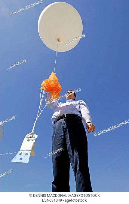 Neoprene Weather Balloon Launch at National Oceanic and Atmospheric Administration (NOAA). National Weather Service Station. Ruskin. Florida