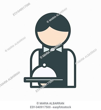 Waiter icon with uniform at the restaurant