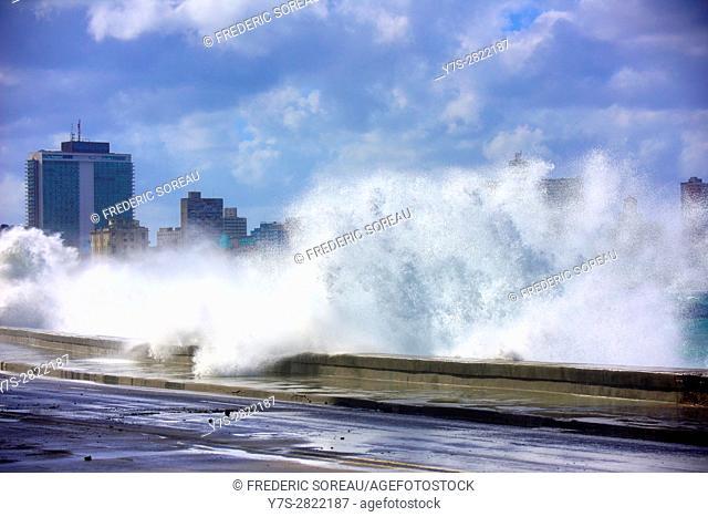 Wave crashing against Malecon, Havana, Cuba