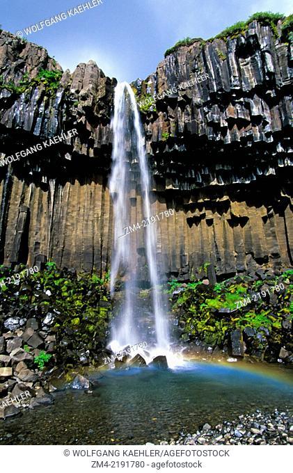 ICELAND, SOUTH COAST, SKAFTAFELL NATIONAL PARK, SVARTIFOSS WATERFALL, BASALT COLUMNS