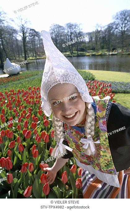 Costume, Dutch, Flowers, Garden, Girl, Holiday, Holland, Europe, Keukenhof, Landmark, Lisse, Model, Netherlands, Released, Touri