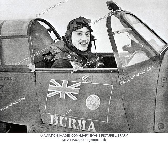 WW2 Fighter Air Ace Robert Stanford Tuck Sitting in Cockpit
