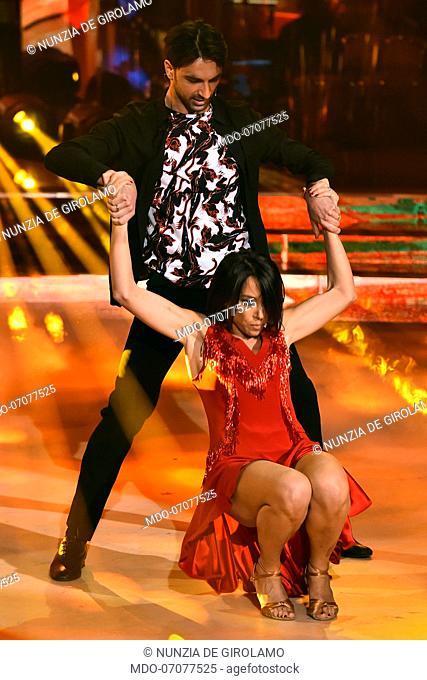 The former minister Nunzia De Girolamo with his dance master Raimondo Todaro during the fourth episode of the show Ballando Con Le Stelle auditorium Rai Foro...