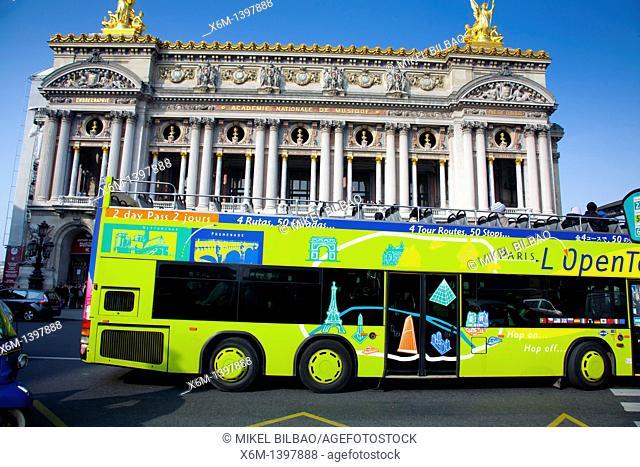 Tourist bus and The Opera Building Palais Garnier  Paris, France, Europe