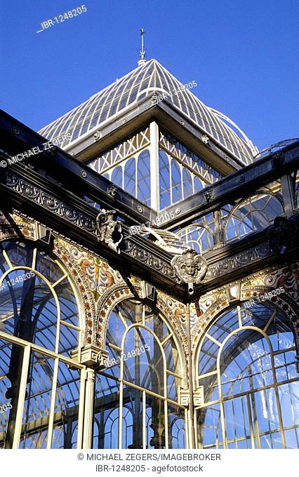 Glass palace, Palacio de Cristal in Parque del Retiro Park, Madrid, Spain, Europe