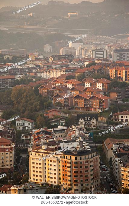 Spain, Basque Country Region, Guipuzcoa Province, San Sebastian, elevated view of town from Monte Ulia, dawn