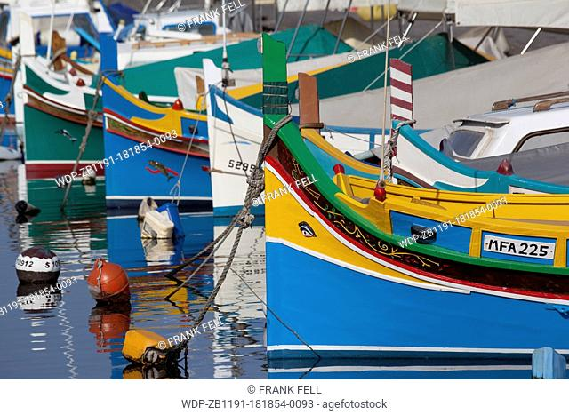 Maltese Islands, Malta, Ta Xbiex, Colourful Harbour Boats