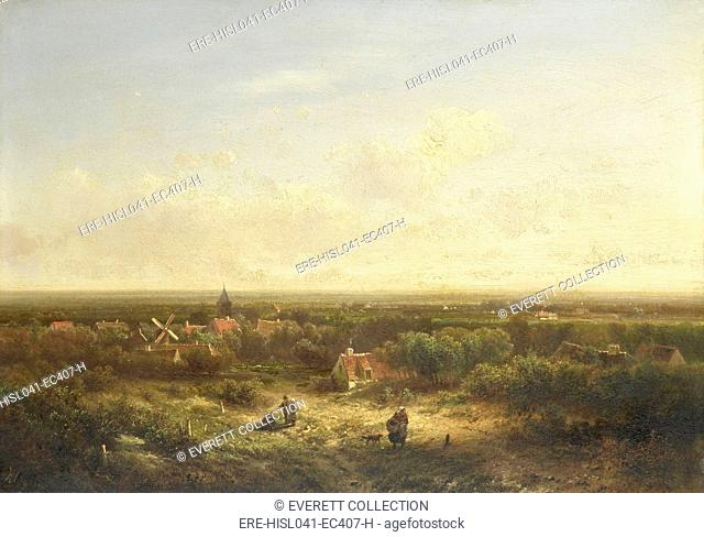 Distant View with a Village, by Pieter Lodewijk Francisco Kluyver, 1840-1900, Dutch oil painting on panel. View of a village in a flat land