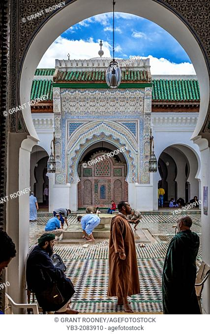 Men washing themselves before prayer, Kairaouine (Al-Karaouine) Mosque , Fez, Morocco