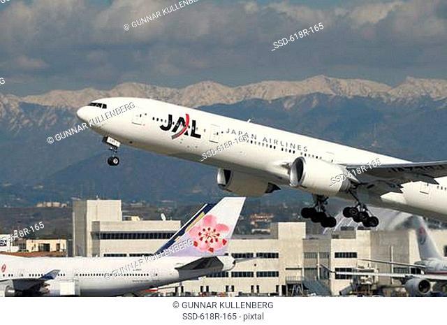 Boeing B777-346 ER departing, Los Angeles International Airport, Los Angeles, California, USA