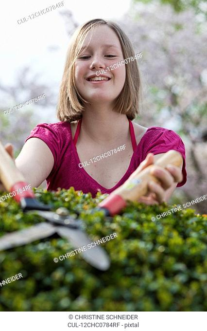 young girl cutting hedge