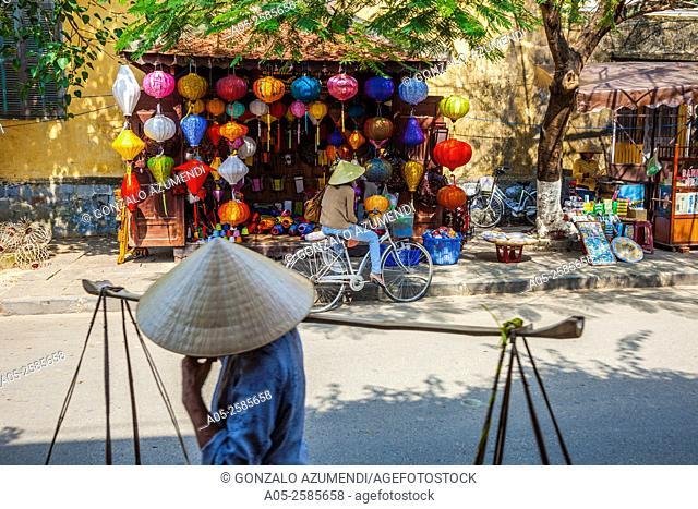 Traditional silk hanging lanterns. Hoi An. Centre of Vietnam. Asia