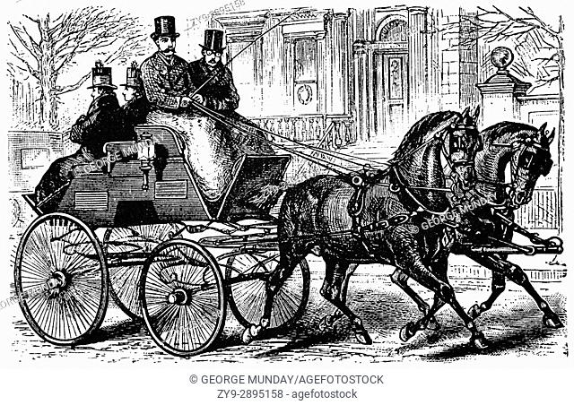 1879: Gentlemen's coach with grooms in Fifth Avenue, New York City,. New York State, United States of America