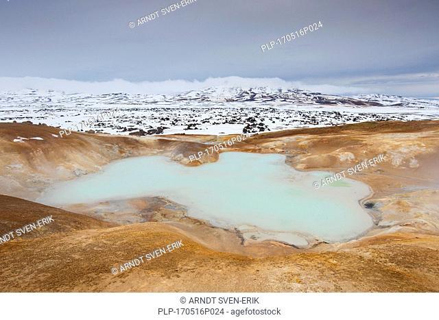 Sulphuric lake at Leirhnjukur / Leirhnjúkur, lava field in the Krafla caldera in winter, Norðurland eystra / Nordurland eystra, North Iceland