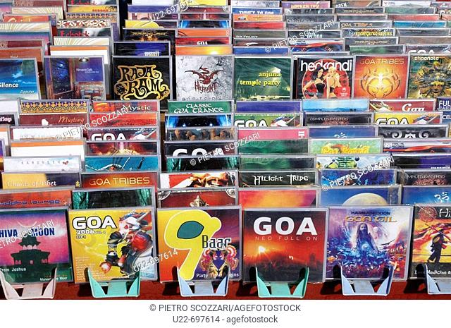 Anjuna Goa, India: CDs on sale at the flea market