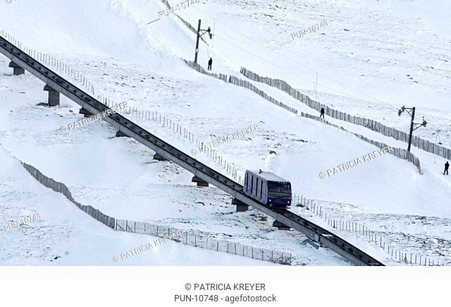 The single car funicular mountain railway which goes from base station to Ptarmigan top station This station is 1097m above sea level and just below the summit...