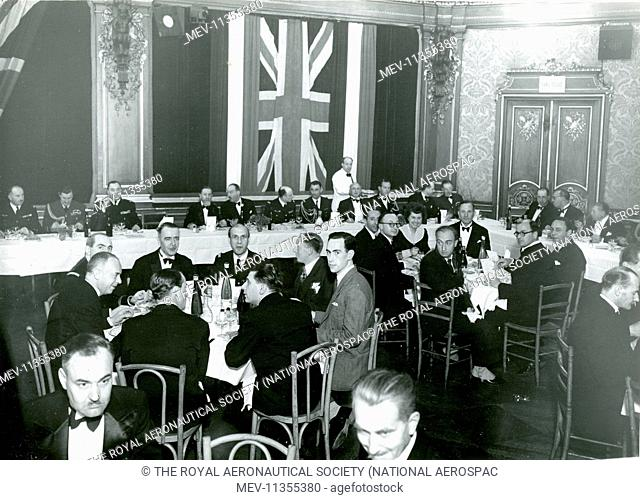 Guests at the first Louis Bl'riot Lecture on 12 May 1948 in a lecture hall attached to the Hotel George V, Paris. The first lecture was given by Air Cdre F