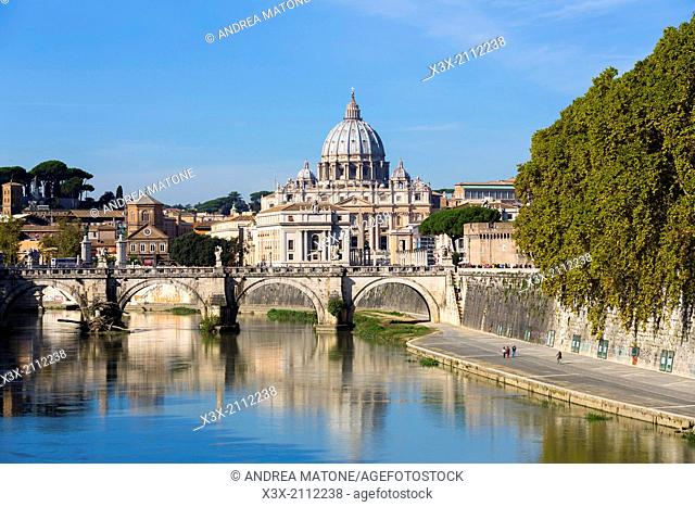 Ponte degi Angeli and Saint Peter's square. Rome, Italy