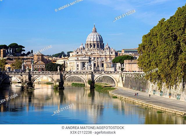 Ponte degi Angeli and Saint Peter's square. Rome, Italy