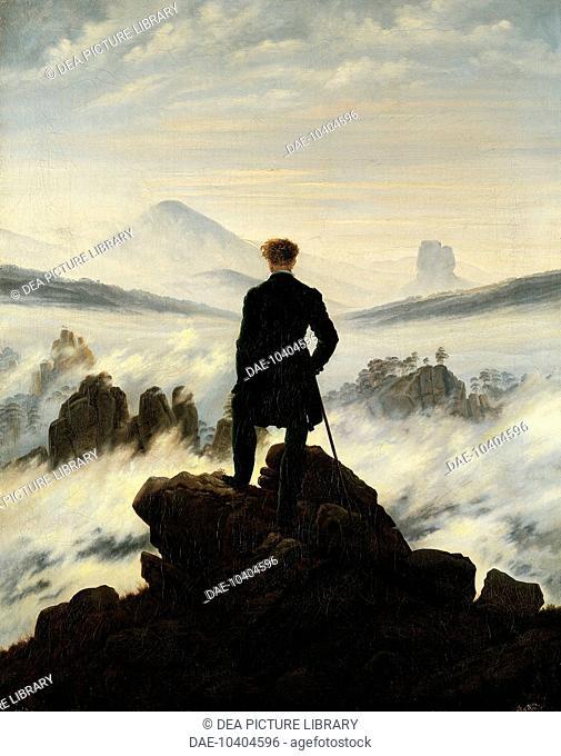 Wanderer above the sea of fog, by Caspar David Friedrich (1774-1840).  Amburgo, Hamburger Kunsthalle