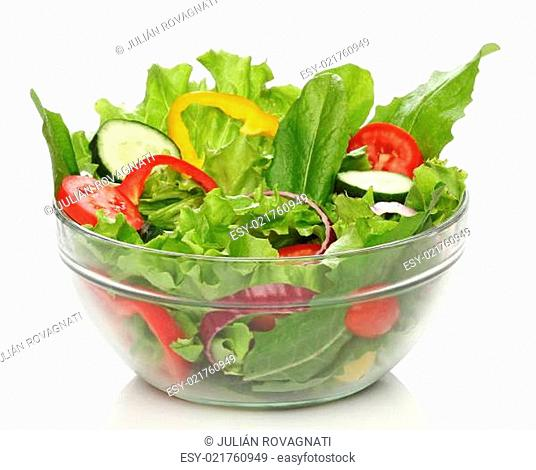 Delicious salad on a bowl isolated