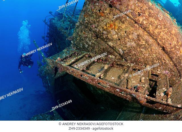 Diver looking at wreckship Gianis D. Red Sea, Sharm El Sheikh, Egypt