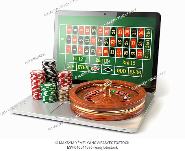 Online roulette casino concept. Laptop with roulette and casino chips isolated on white background. 3d illustration