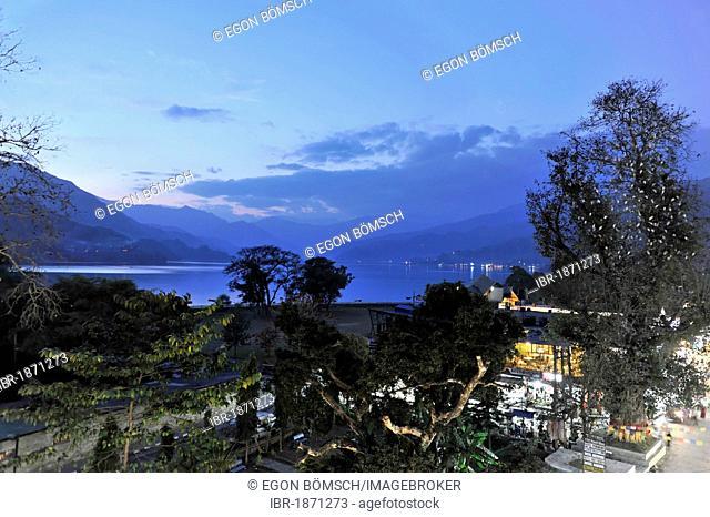 Evening mood, overlooking Phewa Lake, Pokhara, Nepal, Asia