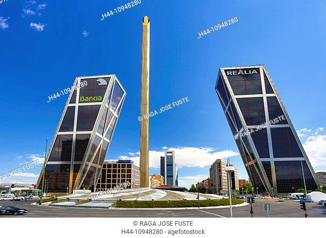 Castellana, Castilla, Castile, Madrid, architecture, avenue, city, glass, inclined, monument, skyscraper, building, Spain, Europe, square, tilted