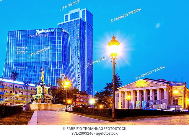 The center of Batumi, with the Fountain of Neptune and the Batumi State Opera, Batumi, Georgia