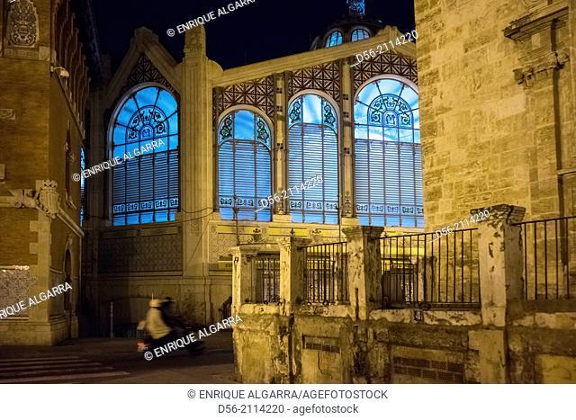 Central Market at night, Valencia, Spain